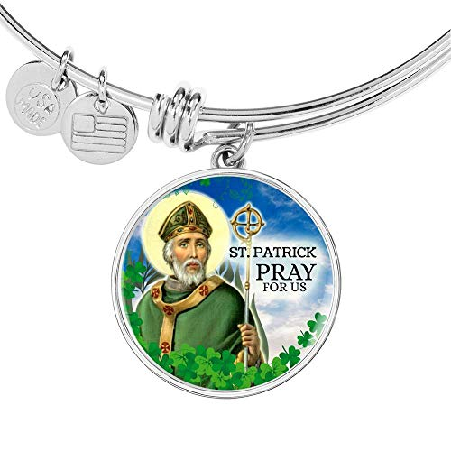Express Your Love Gifts Catholic St. Patrick Circle Bangle - Pulsera de acero inoxidable y oro de 18 quilates