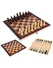 """Chess Board Set, 15"""" Handcrafted 3 in 1 Checkers and Chess Board Game - Wooden Chess Set Chess Sets for Adults with Storage"""