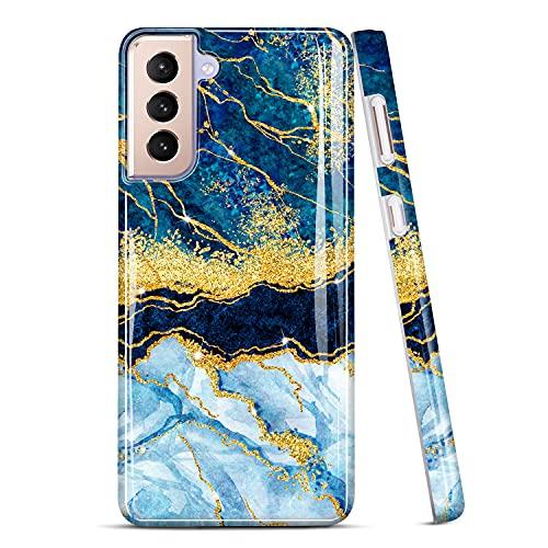 JIAXIUFEN Galaxy S21 Caso Oro Glitter Marmo Sottile Antiurto TPU Morbida Gomma Silicone Cover Cassa Del Telefono per Samsung Galaxy S21 5G 6.2 pollici 2021 Blu Scuro