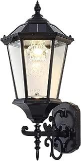 "Solar Wall Lantern Outdoor Lamp, Wireless Dusk to Dawn Wall Light, LED Wall Mount Light Fixture, 21"" Large, Aluminum Housing Plus Glass, Waterproof (Warm White + Cool White)"