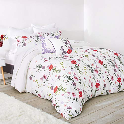 Ted Baker 2 Piece Duvet Set with Shams, Cotton, Floral White/Red/Green, Twin