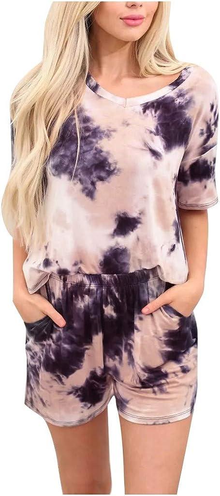 Fashion Casual Womens Tie-dye Short Sleeve Pajama Set Night Lounge Top Short Sleepwear 2020 Clothing