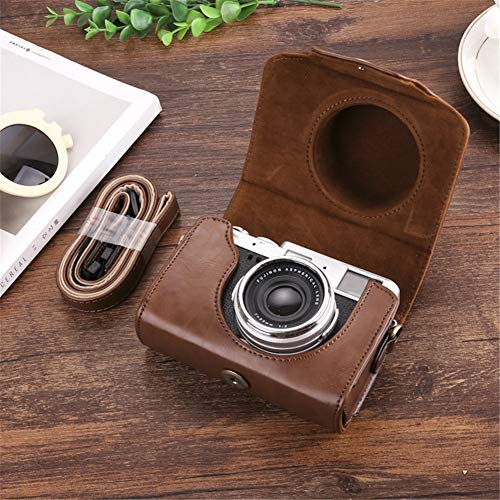 PSSS Suitable for Fuji X10 X30 X20 Leather Case X100F X100S X100T Camera Bag,Brown