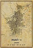 Columbien Medellín Map Wandkunst-Poster, Leinwanddruck,