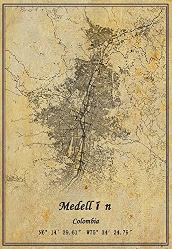 Póster de Colombia Medellín para pared, diseño de mapa de Medellín, estilo vintage, regalo de decoración sin marco, 22,4 x 35,4 cm