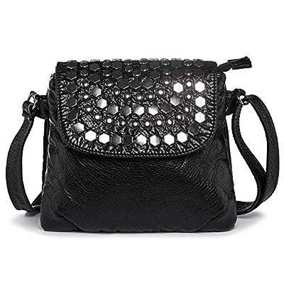 LaRechor Soft Vegan Leather Ladies Handbags Crossbody Bag Rivet Over Shoulder Messenger Bag with Multiple Pockets