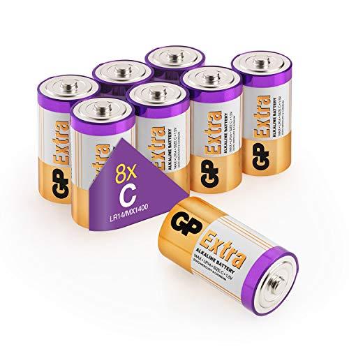 Batterie C - Set da 8   GP Extra   Pile Mezza Torcia Alcaline da 1,5V / LR14 / Pile Mezzatorcia - Lunga Durata