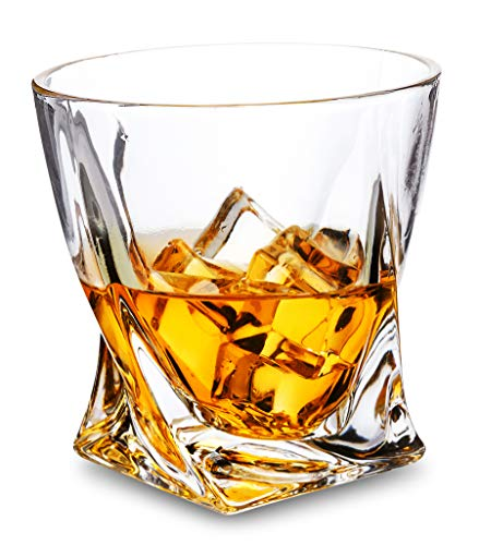 Rocks Style Whiskey Glass Set of 4 - LANFULA Premium Lead Free Crystal Old Fashioned Cocktail Glass Tumbler For Whisky, Scotch or Bourbon - 10 Oz
