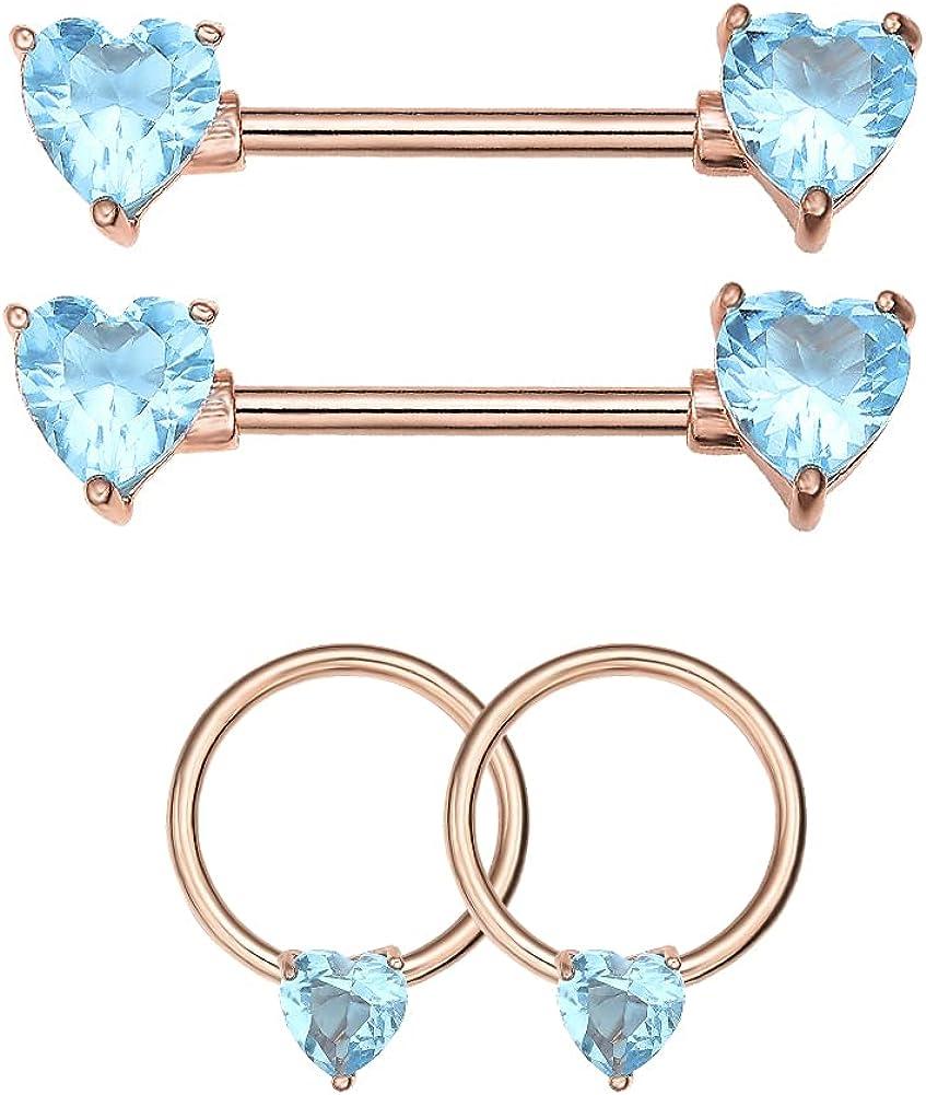 WASOLIE 2Pairs Nipple Rings Piercing 14G Stainless Steel Nipple Rings Piercing Jewelry for Women Men 16mm Bar