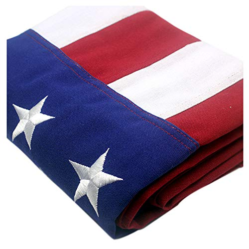 VSVO American Flag 4x6 ft – Heavy Duty 220GSM Tough Spun Polyester Embroidered US Flag for Outdoor/Outside. UV Protected - Sewn Stripes - Brass Grommets USA Flags