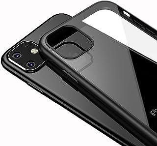 LAYJOY Funda iPhone 11 Carcasa Ligera Silicona Negro Suave TPU Bumper y Transparente Duro PC Case Anti-Arañazos Anti-Golpes Caso Cover 6.1 Pulgadas - Clear