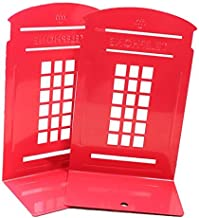 Bullidea 1 Pair Vintage British Style London Telephone Booth Kiosk Thickening Hair Iron Home School Study Office Library Metal Bookends Book End