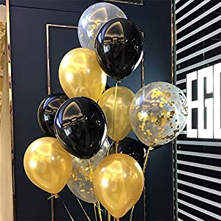 """Gold Black Latex Balloons - 12"""" Latex Balloons Mix Clear Confetti Balloons Gold Party Decorations(Pack of 40)"""