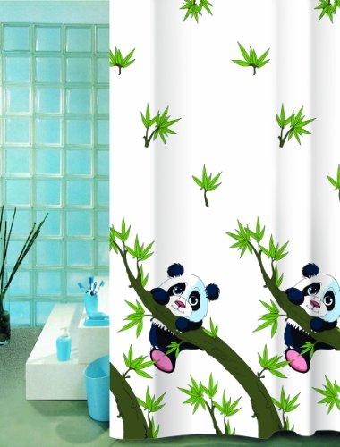 wohnideenshop Panda Duschvorhang Textil, 240cm breit x 200cm lang, mit Ringen