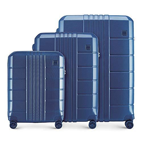 WITTCHEN Koffer – Set of 3 | hartschalen, Material: polycarbonat | hochwertiger und Stabiler | Blau | Verschiedene Größen