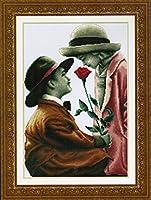 クロスステッチ刺繍キット ロマンチックカップル 図柄印刷