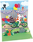 Birthday Greeting Card For Her - Cat and Cake Bike Ride Pop-Up