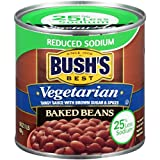 Bush's Best Reduced Sodium Vegetarian Baked Beans, Canned Beans, Baked Beans Canned, Vegetarian Food, Kosher, Source of Plant Based Protein and Fiber, Low Fat, Gluten Free, 16oz (Pack - 12)