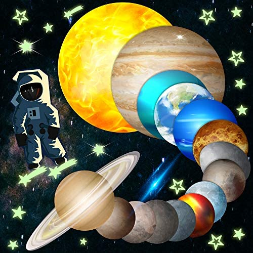 HORIECHALY Glow in The Dark Stars and Planets Bright Solar System Wall Stickers Sun Earth Mars product image