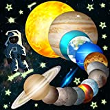 HORIECHALY Glow in The Dark Stars and Planets, Bright Solar System Wall Stickers -Sun Earth Mars,Stars,Shooting Star...15 Glowing Ceiling Decals for Bedroom,Shining Space Decoration for Kids-140PCS.