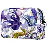 Neceser Maquillaje Portátil Pulpo Caballito de mar Bolsa de Maquillaje portátil Bolsa de Aseo Neceser de Viaje Toiletry Bag para Mujeres niñas 18.5x7.5x13cm