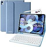 Custodia con Tastiera per iPad Air 4 10.9 2020, con supporto per penna, tastiera magnetica rimovibile Bluetooth con layout QWERTZ, per Nuovo iPad Air 10.9 2020/Pro 11 2018(2a Generazione)
