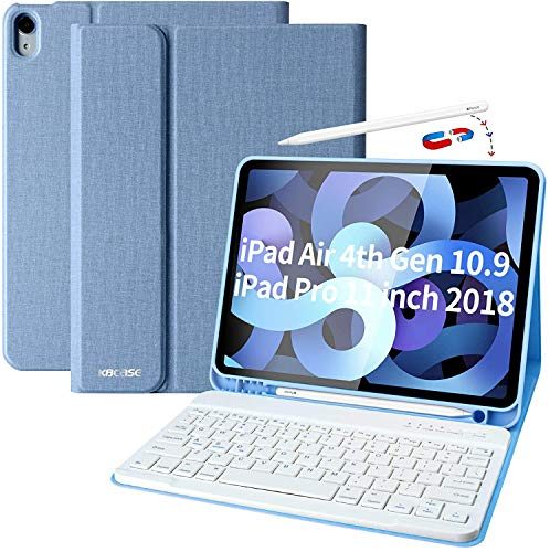 Funda para iPad de 9,7 pulgadas 2018 (6th Gen) – iPad Air 2 – iPad Air 1 – Funda para iPad Pro 9,7 pulgadas con llavero inalámbrico extraíble, Auto Wake/Sleep (color azul ciel)