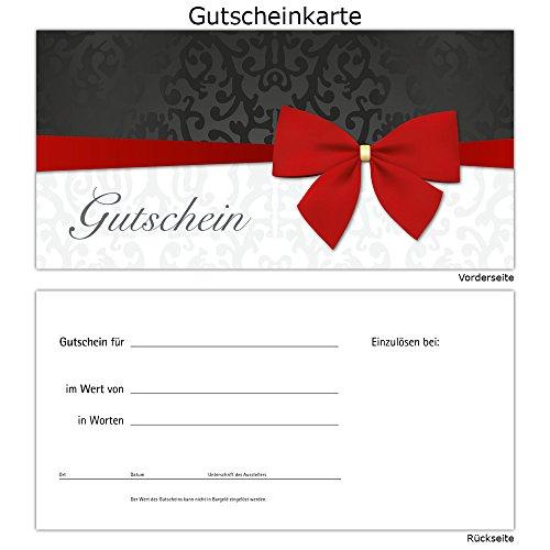 25 Gutscheine Gutscheinkarten Geschenkgutscheine – edel neutral Schleife Rot