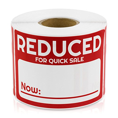 "Reduced Now for Quick Sale 2"" x 3"" Point of Sale Discount Pricing Retail Labels Stickers (Red / 300 Labels per roll / 1 Rolls)"