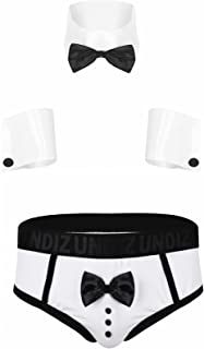 CHICTRY Men's 3Pcs Waiter Cosplay Lingerie Set Sexy Tuxedo Briefs Underwear with Collar and Cuffs