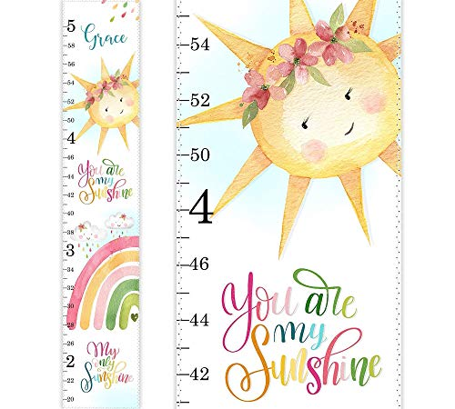 Rainbow Growth Chart, Personalized Growth Chart, You are my Sunshine, Nursery Decor, Watercolor Rainbow Cloud Sun Wall Art, Height Chart