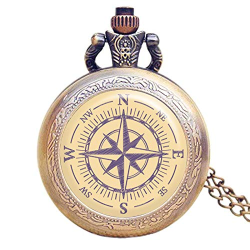 Compass Pocket Watch Vintage Nautical Sailor Handmade Pocket Watch with Necklace Chain - Compass Pocket Watch