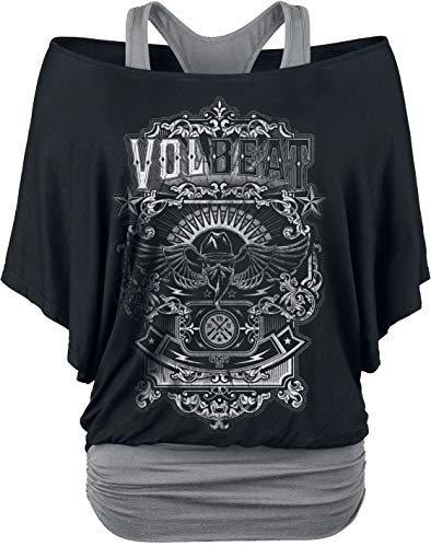 Volbeat Old Letters Frauen T-Shirt schwarz/grau L, 95% Viskose, 5% Elasthan, Band-Merch, Bands