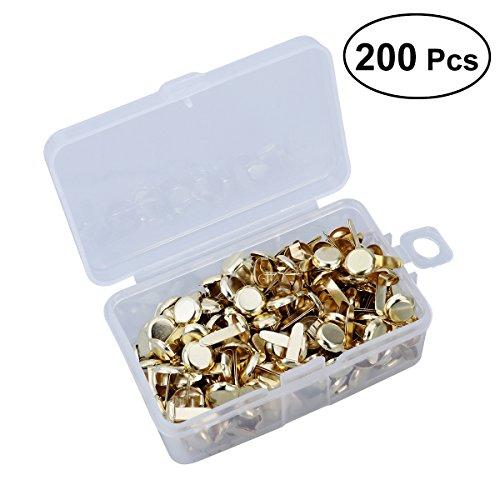 ROSENICE Musterbeutelklammern Rundkopf mit Aufbewahrungsbox für Handwerk DIY 200 Stücke (Gold)