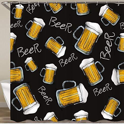 KGSPK Cortinas de Ducha,Patrón de Jarra de Cerveza sobre Fondo Negro,Impermeable Cortinas Baño y Lavables Cortinas Bañera 180x180CM