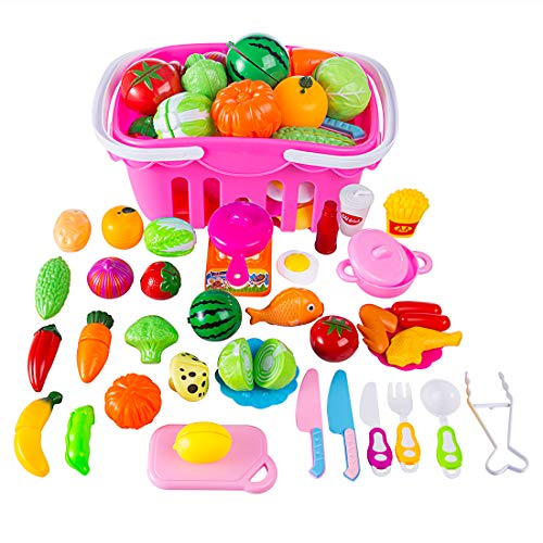 YVSoo 38 Piezas Juguetes de Frutas y Verduras Juego de Cocina Juegos de Aprendizaje y...