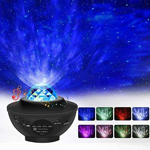 LED Projektor Sternenhimmel Lampe Projektor Dekoratives Licht Bunte Nachtlampen Nachtlicht mit sprachgesteuertes Funktion und Bluetooth Lautsprecher für Baby Kinder Erwachsene