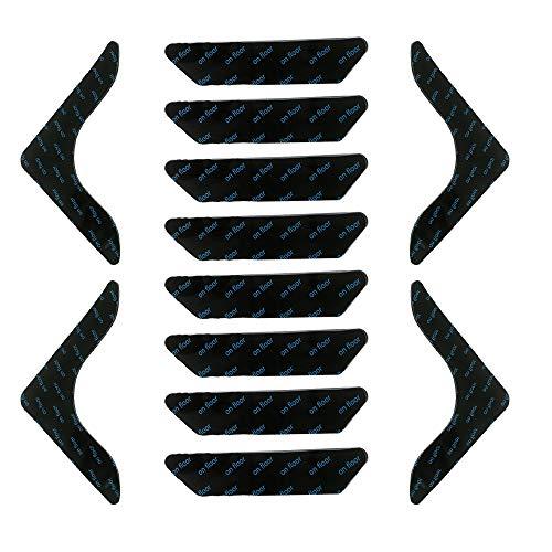 Nobranded 12 Stücke Anti-Curling-Teppichgreifer, Rutschfester Teppich Aufkleber, Antirutschmatte für Teppich, Wiederverwendbarer Teppich Aufkleber für Badezimmer mit Hartboden aus Holzlaminat