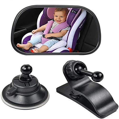 Youery Rücksitzspiegel fürs Baby Kinder,Autospiegel Baby mit Saugnäpfe und Klamme,Auto Rückspiegel für Babyschale und Kindersitz,Car Rückspiegel Autositz Spiegel 360°schwenkbar