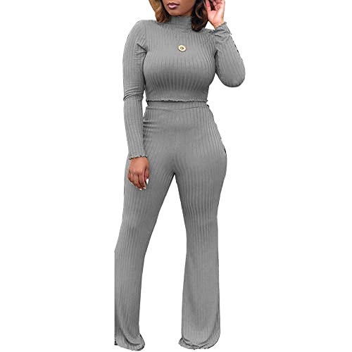 5d2703f8a7359b Amazon.com  Women Long Sleeve High Neck Rib Knit Pullover Tops Set Palazzo  Pants 2 Piece Tracksuit Outfit Green S  Clothing