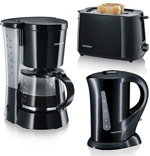 Severin AT 2287 Automatik Toaster (700 W) + Severin KA 4479 Kaffeeautomat + Severin WK 3363 Wasserkocher (1000 W, 1,0 L) schwarz