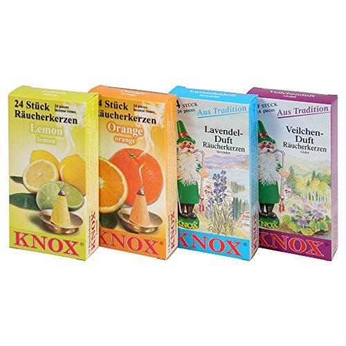 KNOX Räucherkerzen 4er Set Frühlingsdüfte - Lemon, Orange, Lavendel, Veilchen - Made in Germany
