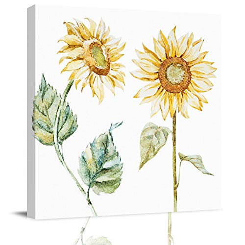 LooPoP Canvas Pictures Watercolor Canvas Framed Canvas Wall Decor for Bedroom Vintage Sunflowers Illustration Artistic Design Canvas Wall Art for Wall Decor Home Decorations 20x20inch