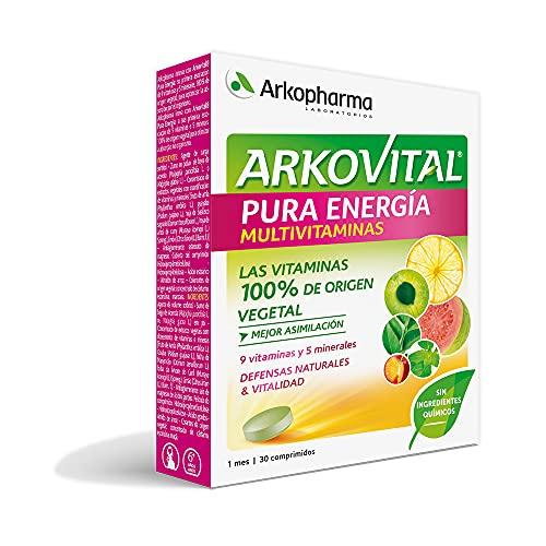 Arkopharma Arkovital Pura Energía 30 Comprimidos, Multivitamínico Defensas Naturales y Vitalidad, 9 Vitaminas Naturales y 5 Minerales, Mayor Asimilación