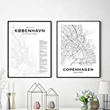 LLXHGKopenhagen Stadtplan Poster Moderne Leinwand Malerei
