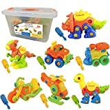 Kidtastic Set of 7 Take Apart Toys, Dinosaurs, Helicopter, Train, Truck, Motorcycle, STEM Building...