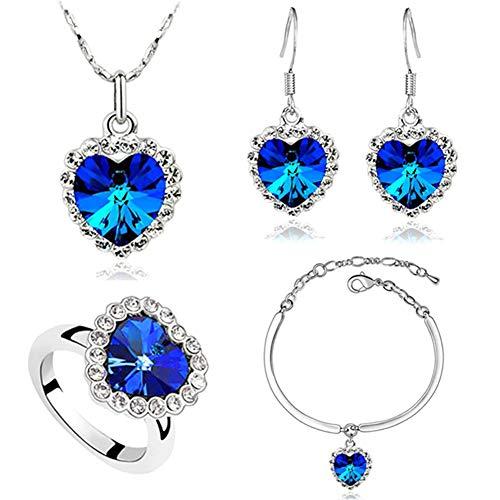 Scrox 4pcs Juego de Joyas Mujeres Plata Conjunto Moda Joyería Exquisito Corazón Collar Corazón del mar Colgante Rhinestone Pulsera Crystal Anillo Pendientes (Azul Real)