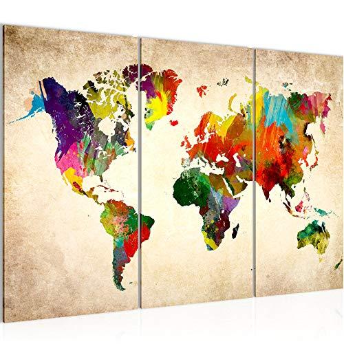 Weltkarte 120 x 80 cm Vlies - Leinwand Bild XXL Format 3 Teilig Wandbilder Wohnzimmer Wohnung Deko Kunstdrucke Fertig zum Aufhängen 105131a