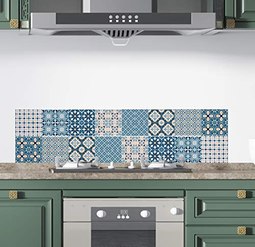 Teseo- Pack 16 Pegatinas para Azulejos de Pared | Adhesivo Pared | Pegatinas de Baldosas | Calcomanías Autoadhesivas de Vinilo para Cocina| Sala Estar Baño |Retro| Decoración del Hogar | 15 x 15 cm