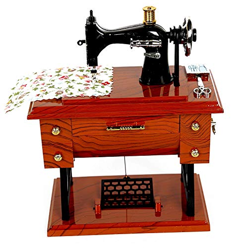 Artyea Vintage Mini Sewing Machine Style Plastic Music Box Table Desk Decoration Toy Gift for Kid Children, brown